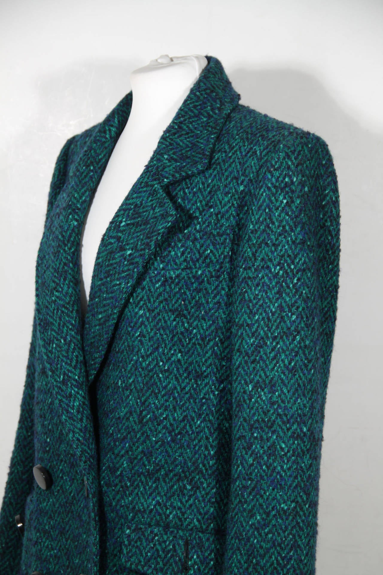 ANDREA ODICINI Italian VINTAGE Green Tweed SUIT Coat & Skirt SET Sz 40 IT In Excellent Condition For Sale In Rome, Rome