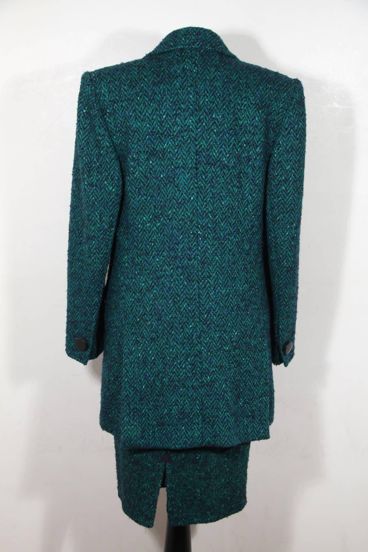 Women's ANDREA ODICINI Italian VINTAGE Green Tweed SUIT Coat & Skirt SET Sz 40 IT For Sale