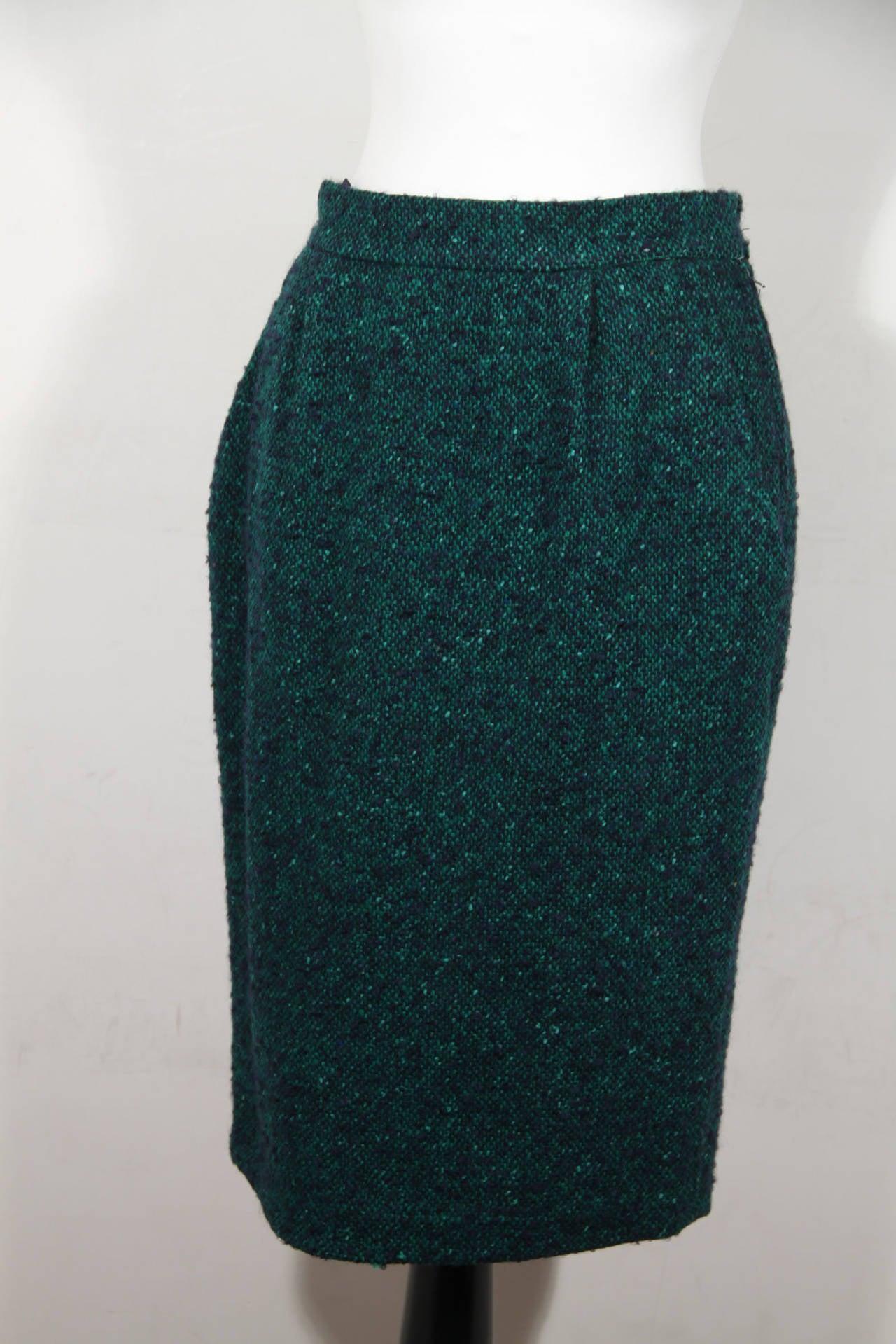 ANDREA ODICINI Italian VINTAGE Green Tweed SUIT Coat & Skirt SET Sz 40 IT For Sale 2