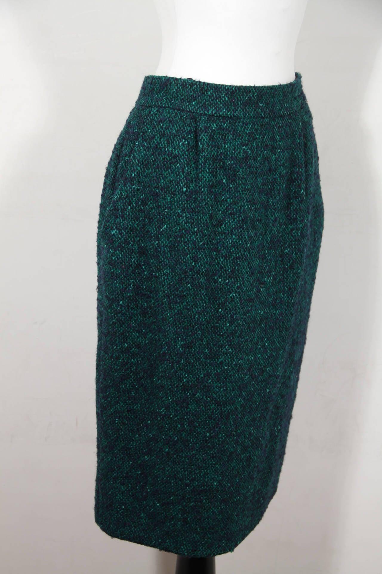 ANDREA ODICINI Italian VINTAGE Green Tweed SUIT Coat & Skirt SET Sz 40 IT For Sale 3