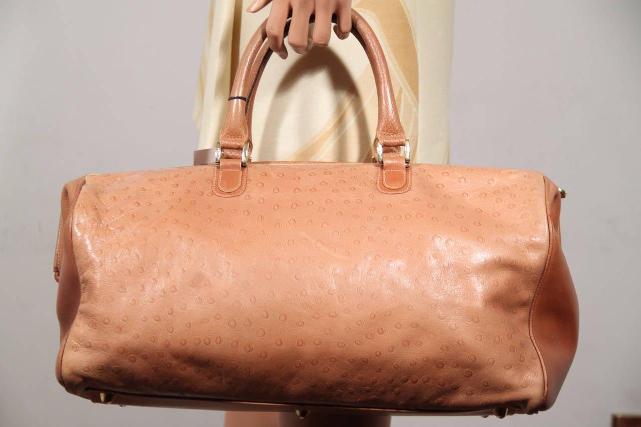 19dfa7a3d51f FENDI Italian Authentc Tan OSTRICH SKIN Leather LARGE DOCTOR BAG ...