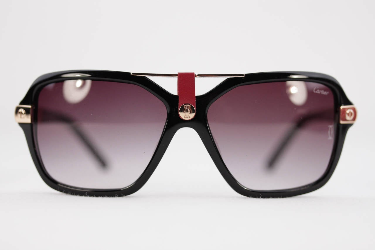 Cartier Gold Frame Sunglasses : CARTIER Black and Gold Metal rare vintage SUNGLASSES ...