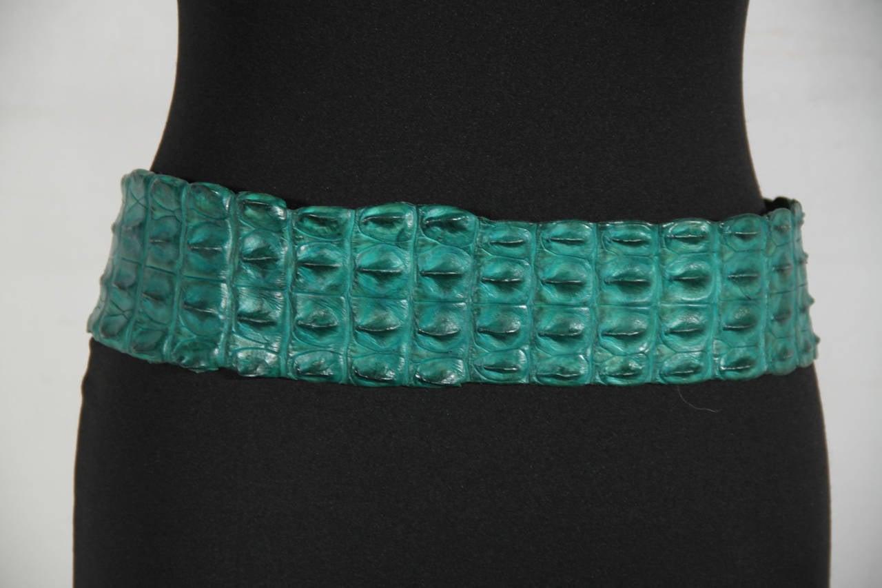 Auth ROBERTO CAVALLI Emerald Green CROCODILE Leather WRAP BELT Size S 3