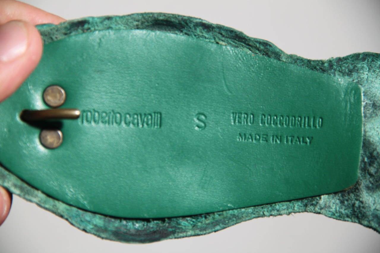 Auth ROBERTO CAVALLI Emerald Green CROCODILE Leather WRAP BELT Size S 5