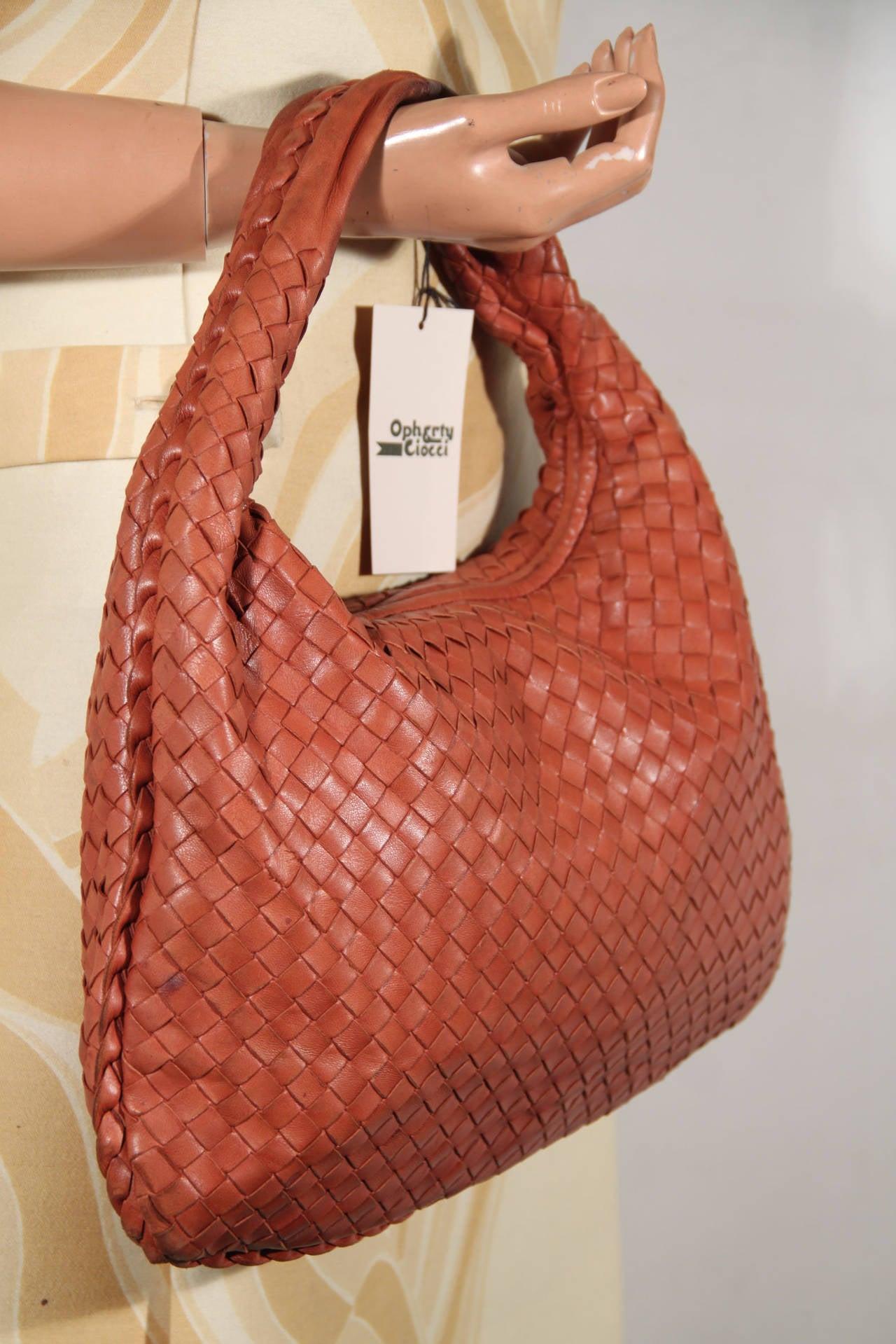 111f274297 BOTTEGA VENETA Italian Authentic Tan INTRECCIATO Woven Leather HOBO ...