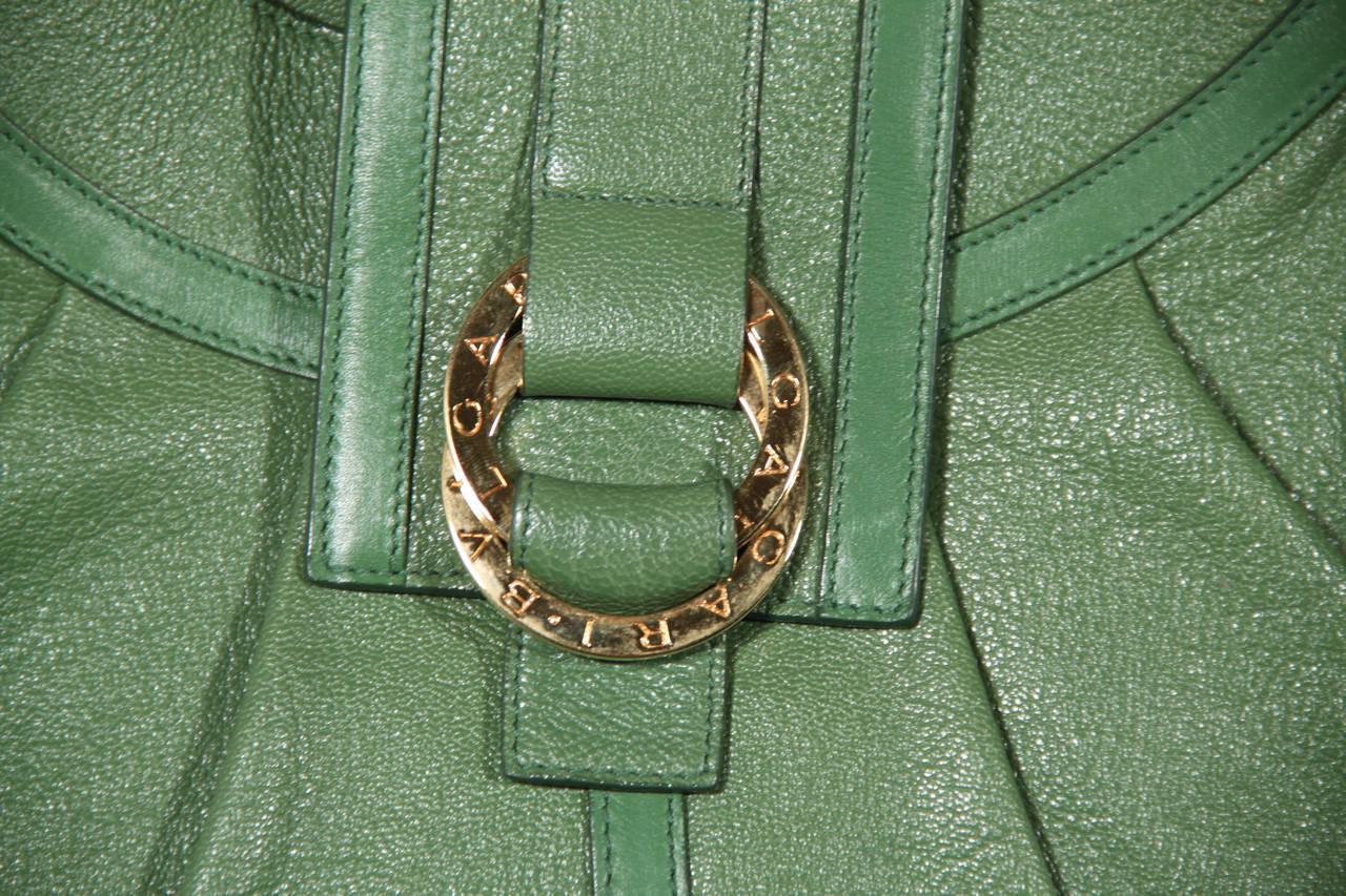 BULGARI BVLGARI Italian Authentic Green Leather CHANDRA BAG Shoulder Bag HOBO 7