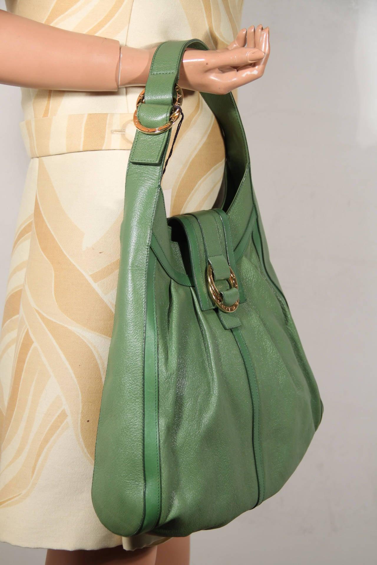 BULGARI BVLGARI Italian Authentic Green Leather CHANDRA BAG Shoulder Bag HOBO 4