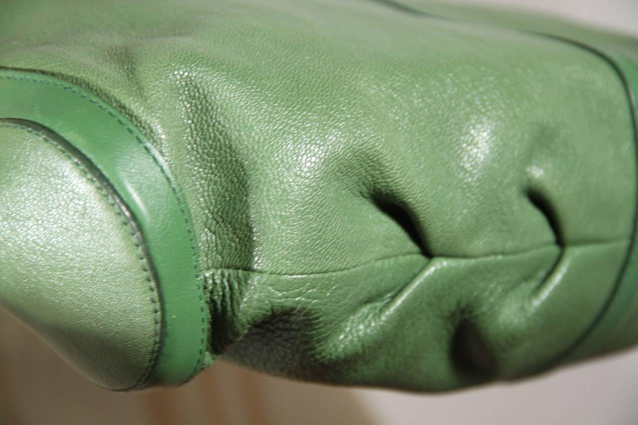 BULGARI BVLGARI Italian Authentic Green Leather CHANDRA BAG Shoulder Bag HOBO 5