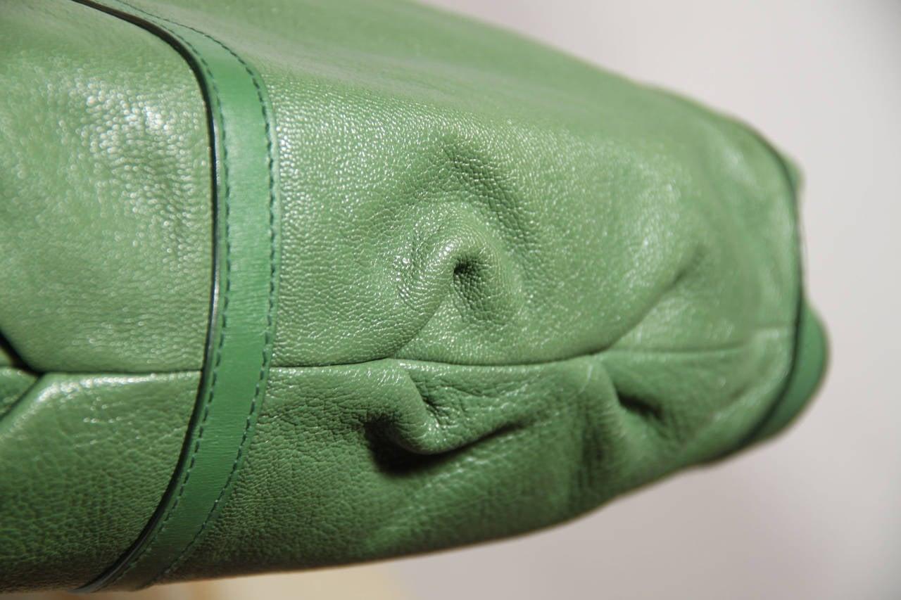 BULGARI BVLGARI Italian Authentic Green Leather CHANDRA BAG Shoulder Bag HOBO 6