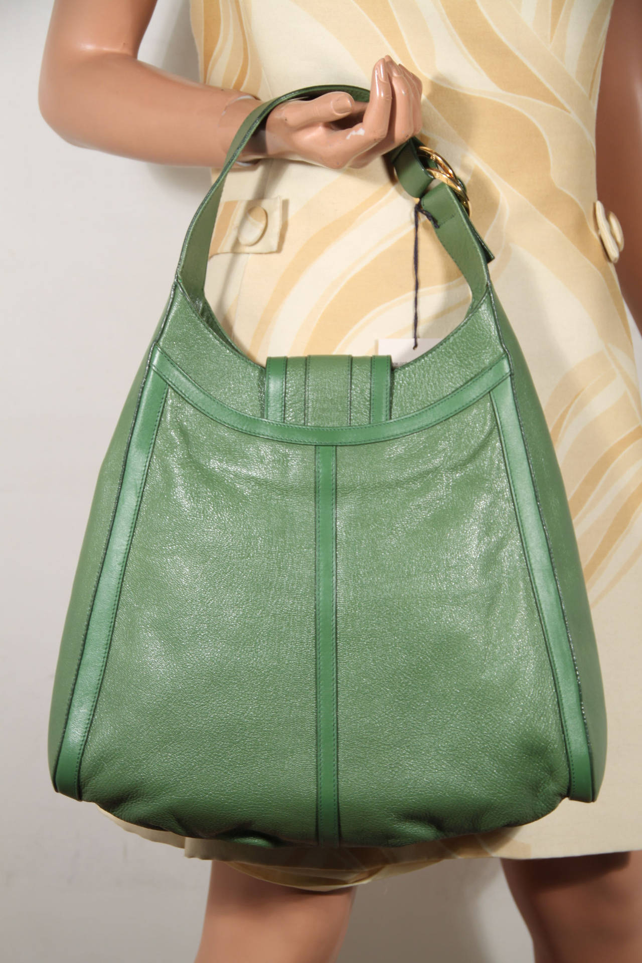 BULGARI BVLGARI Italian Authentic Green Leather CHANDRA BAG Shoulder Bag HOBO 3