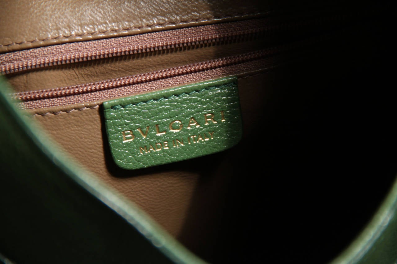 BULGARI BVLGARI Italian Authentic Green Leather CHANDRA BAG Shoulder Bag HOBO 10