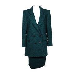 ANDREA ODICINI Italian VINTAGE Green Tweed SUIT Coat & Skirt SET Sz 40 IT