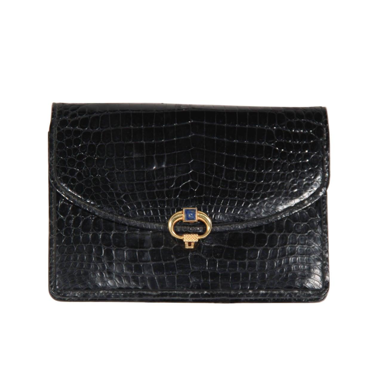 Gucci Exceptional Large Gucci Black Lizard Clutch 80s fNlaj1Fv