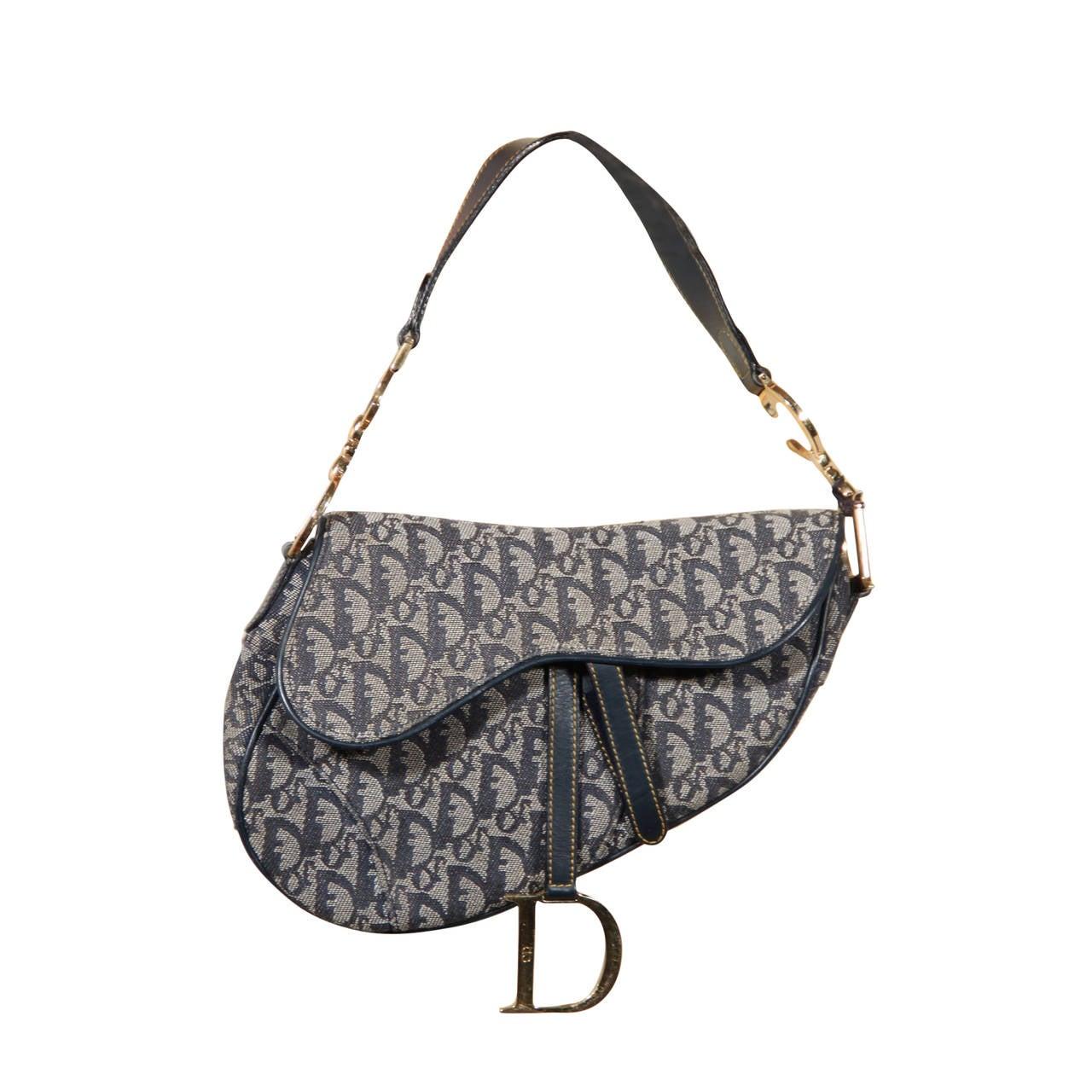 66668dcc495 CHRISTIAN DIOR Authentic Blue LOGO Canvas SADDLE BAG Shoulder Bag HANDBAG  For Sale