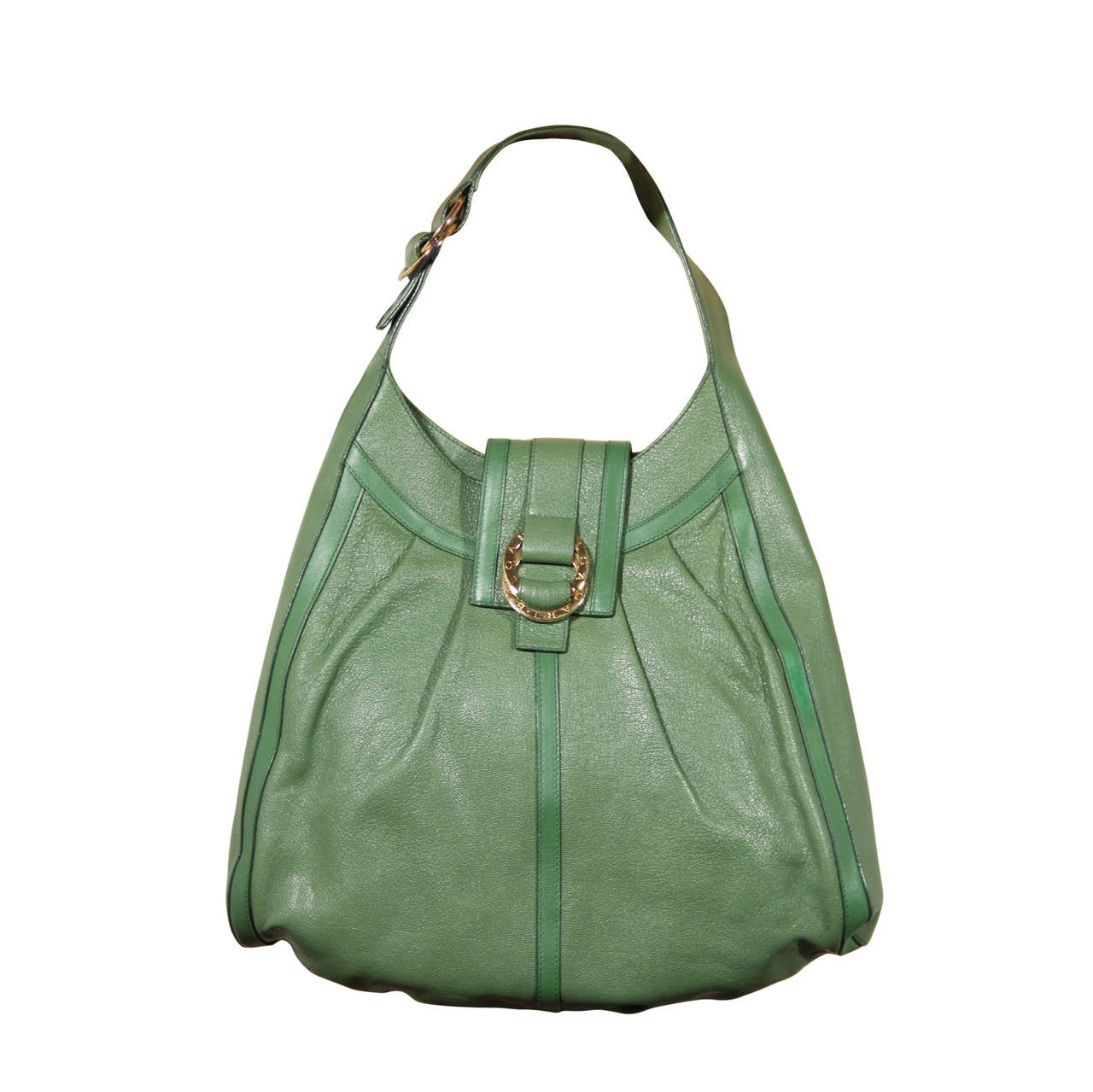 BULGARI BVLGARI Italian Authentic Green Leather CHANDRA BAG ...