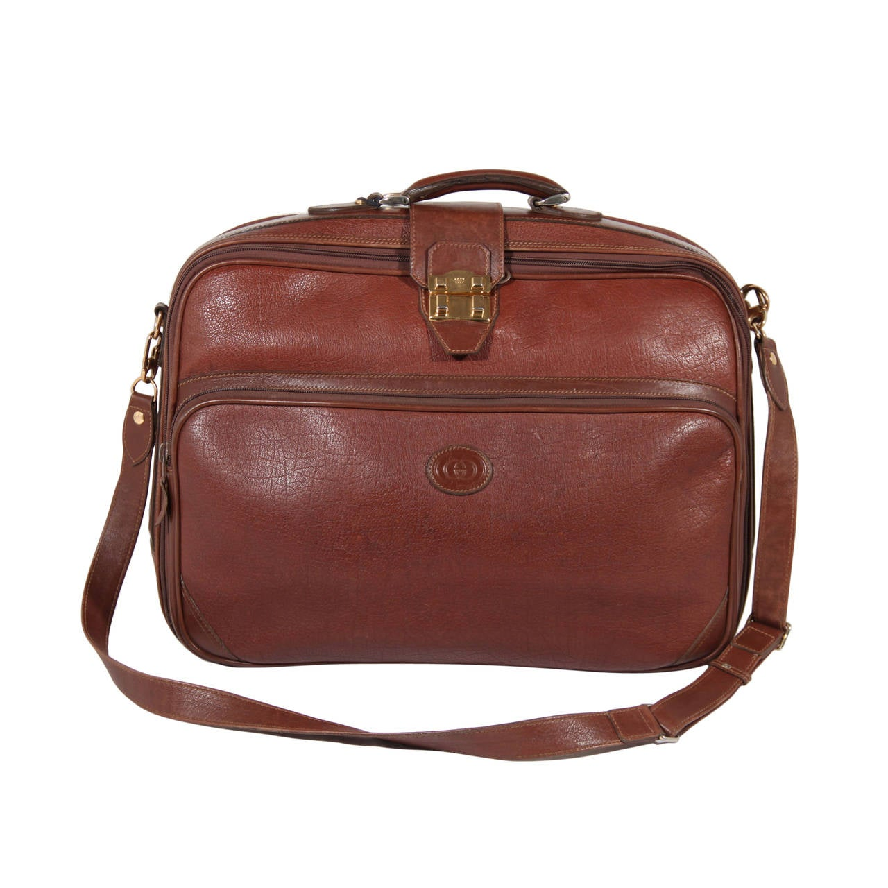 GUCCI Italian vintage Brown Leather CABIN SIZE SUITCASE Travel bag ...