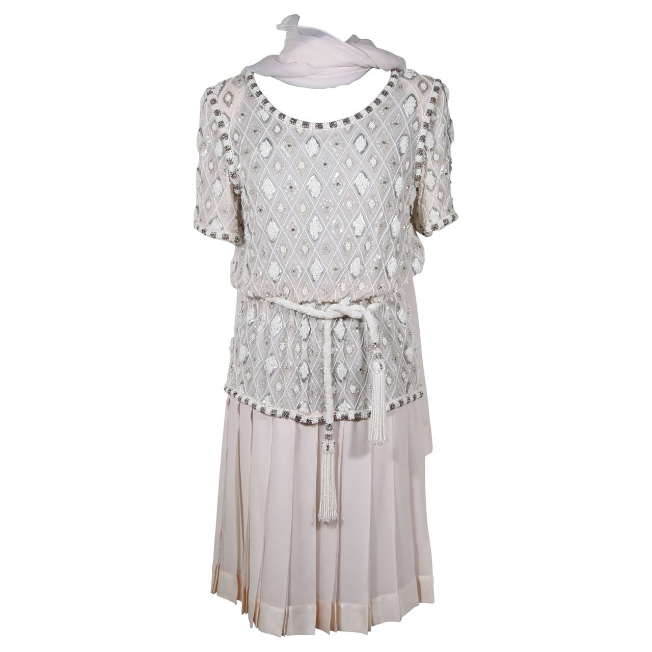 ANDREA ODICINI COUTURE Italian VINTAGE White BEADED DRESS w/ Stole ...