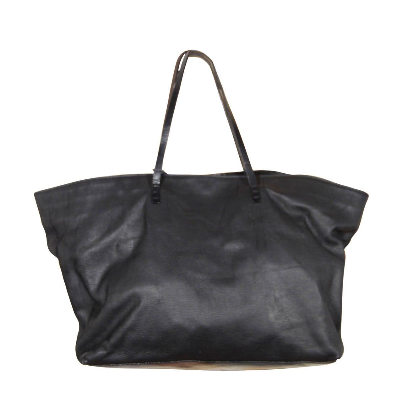 fendi italian authentic vintage black leather shopping bag tote shoulder bag at 1stdibs. Black Bedroom Furniture Sets. Home Design Ideas