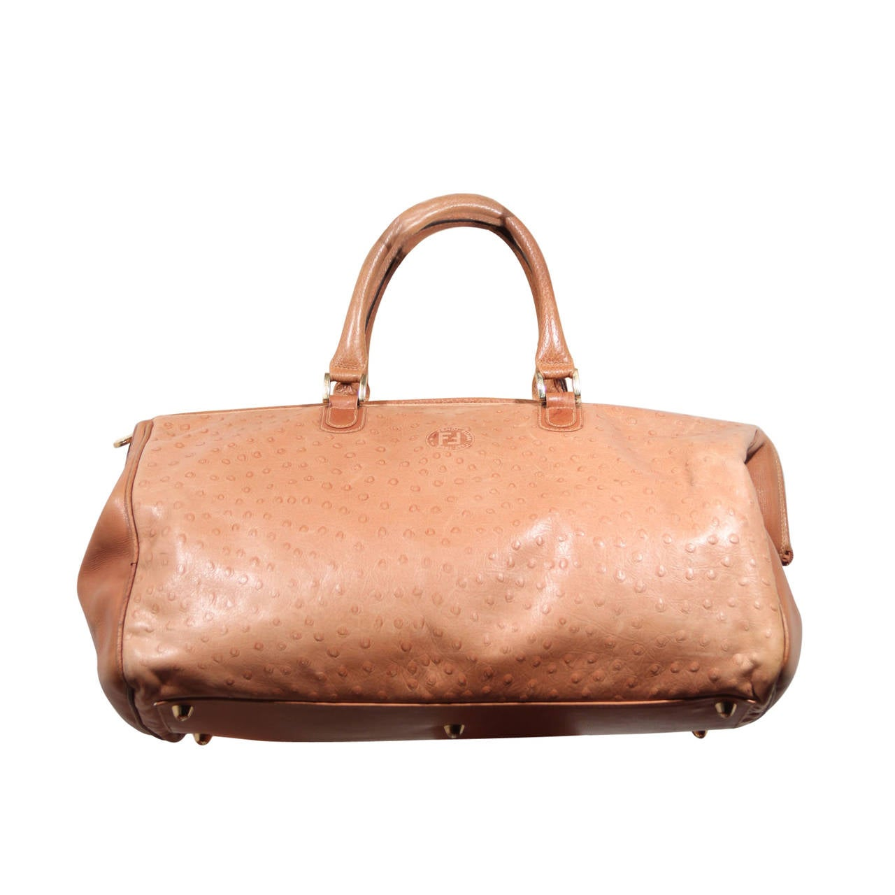 ade4e251801b FENDI Italian Authentc Tan OSTRICH SKIN Leather LARGE DOCTOR BAG Weekender  For Sale. Brand  FENDI - Made in Italy Logos   Tags  FF - FENDI logo patch