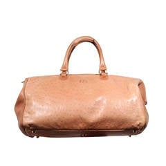 FENDI Italian Authentc Tan OSTRICH SKIN Leather LARGE DOCTOR BAG Weekender
