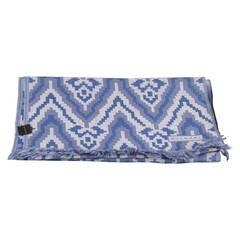 BULGARI BVLGARI Italian Blue Wool WRAP SCARF Geometric Pattern w/ BOX