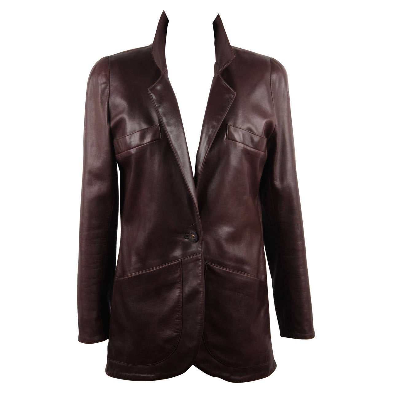 CHANEL BOUTIQUE VINTAGE Chocolate Brown LEATHER JACKET Blazer SIZE 38 FR 1