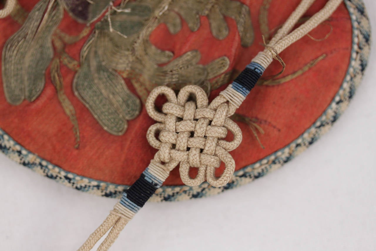 Antique Chinese Vase Shape Embroidered Silk Scent Purse
