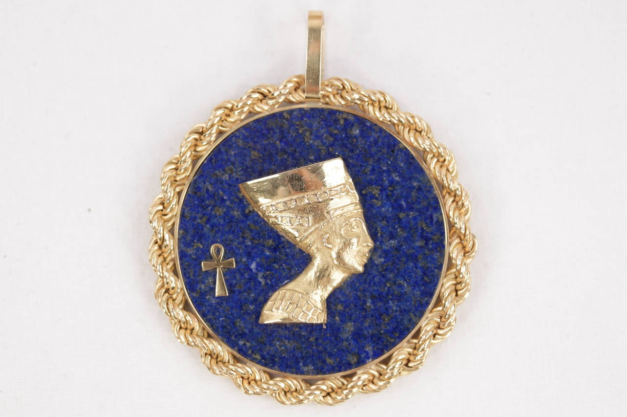Blue LAPIS Yellow Gold Round Egyptian NEFERTITI PENDANT For Necklace 2