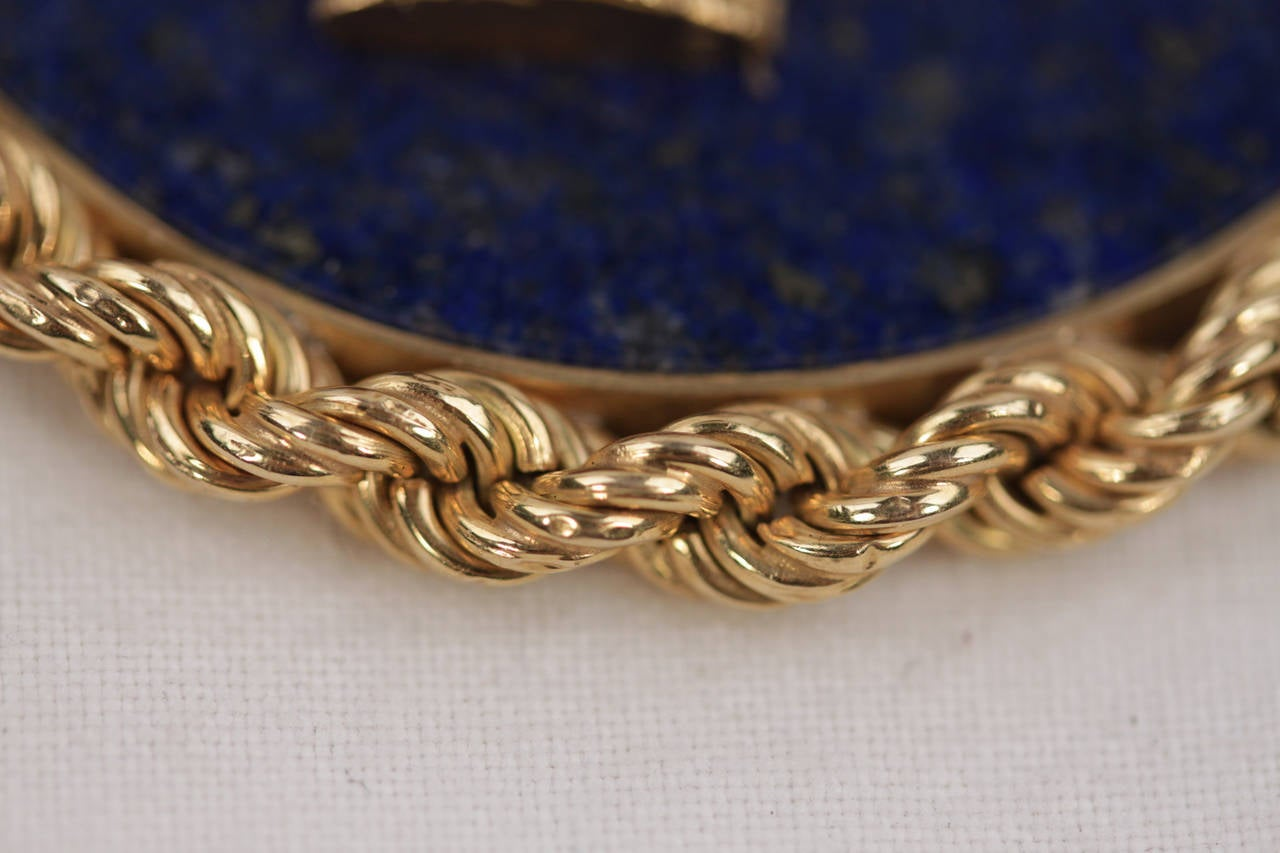 Blue LAPIS Yellow Gold Round Egyptian NEFERTITI PENDANT For Necklace 4