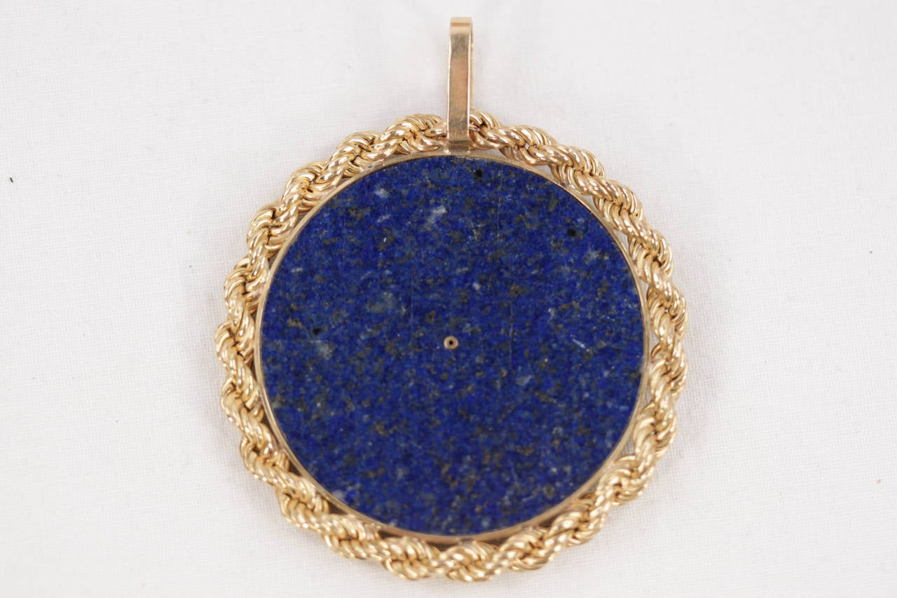 Blue LAPIS Yellow Gold Round Egyptian NEFERTITI PENDANT For Necklace 5
