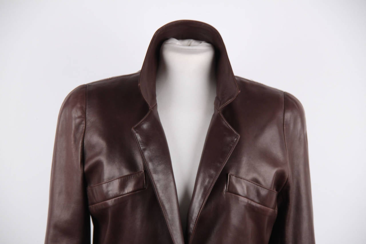 CHANEL BOUTIQUE VINTAGE Chocolate Brown LEATHER JACKET Blazer SIZE 38 FR 4