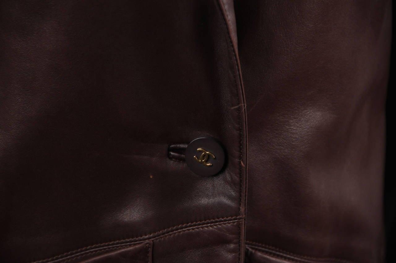 CHANEL BOUTIQUE VINTAGE Chocolate Brown LEATHER JACKET Blazer SIZE 38 FR 5