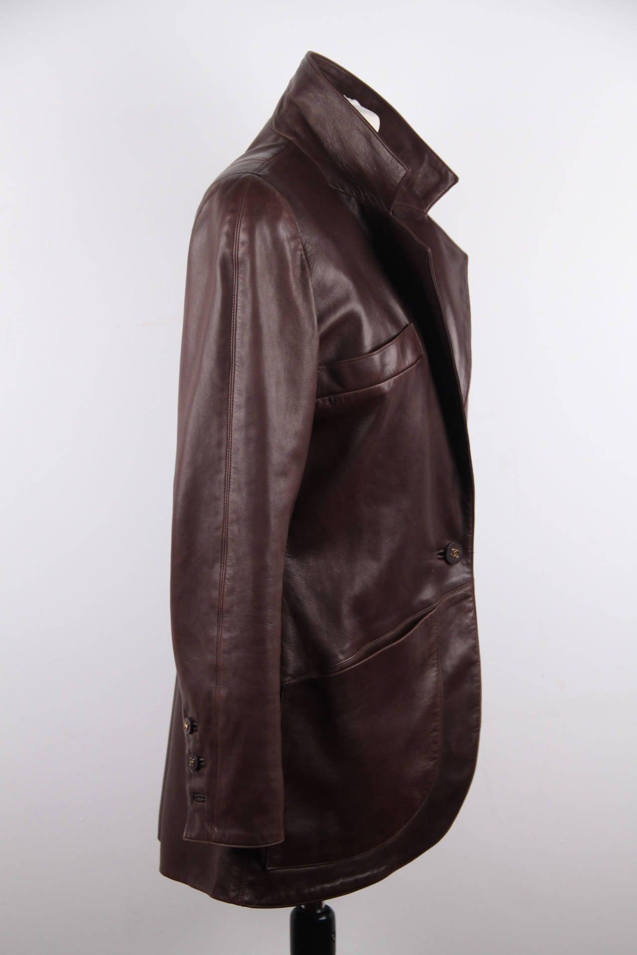 CHANEL BOUTIQUE VINTAGE Chocolate Brown LEATHER JACKET Blazer SIZE 38 FR 2
