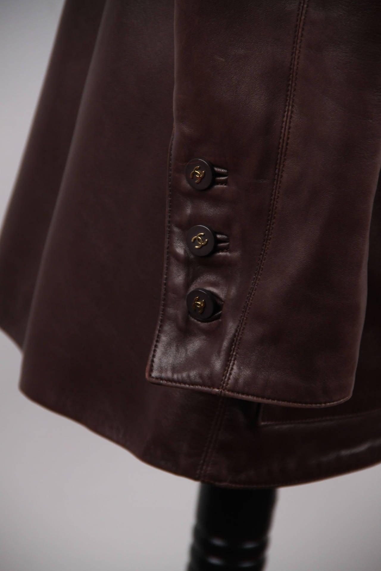 CHANEL BOUTIQUE VINTAGE Chocolate Brown LEATHER JACKET Blazer SIZE 38 FR 6