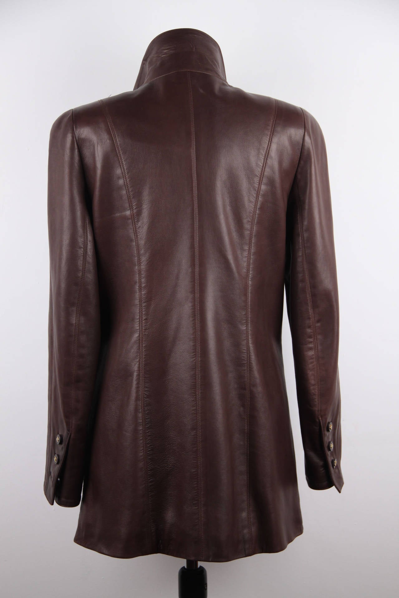 CHANEL BOUTIQUE VINTAGE Chocolate Brown LEATHER JACKET Blazer SIZE 38 FR 3