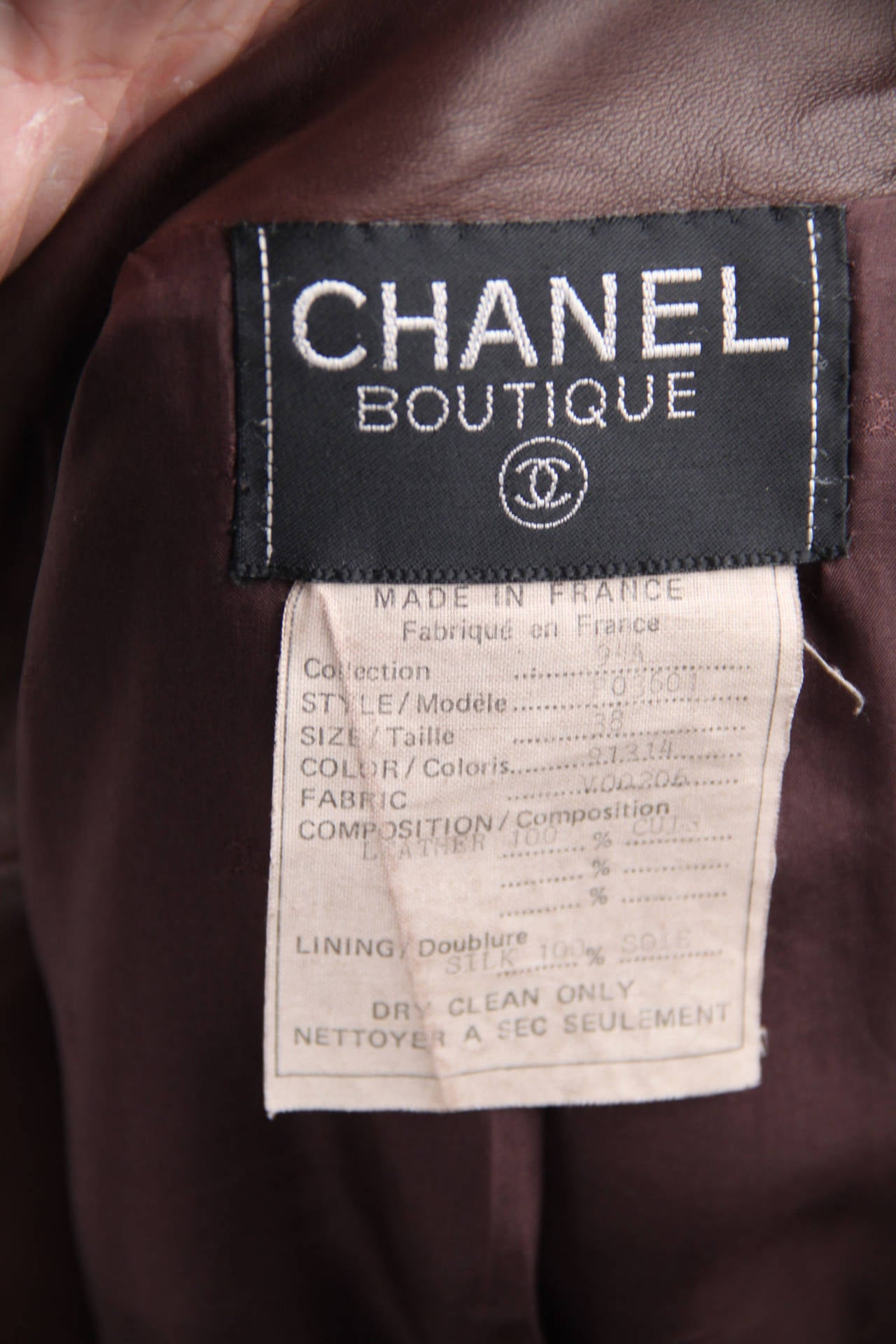 CHANEL BOUTIQUE VINTAGE Chocolate Brown LEATHER JACKET Blazer SIZE 38 FR 7