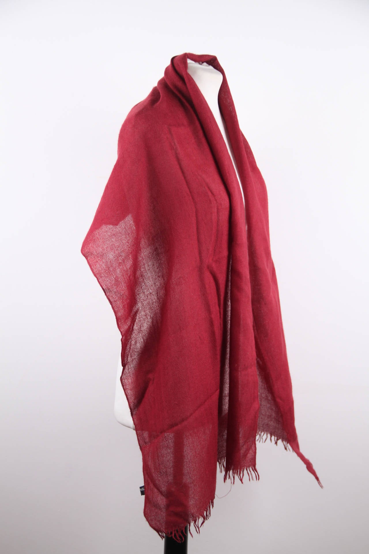 chanel vintage burgundy and silk wrap scarf w