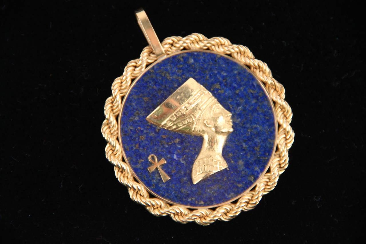 Blue LAPIS Yellow Gold Round Egyptian NEFERTITI PENDANT For Necklace 7