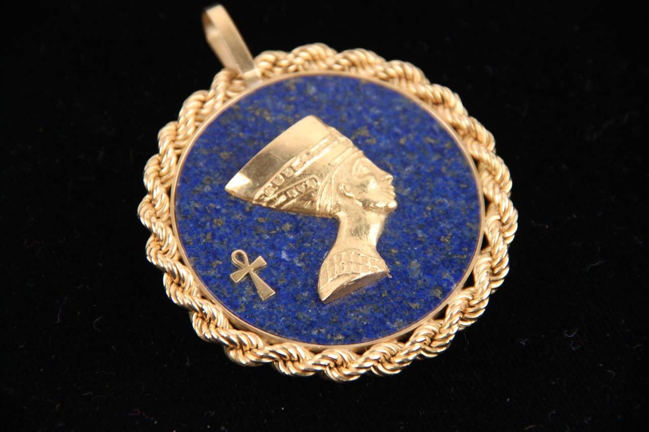 Blue LAPIS Yellow Gold Round Egyptian NEFERTITI PENDANT For Necklace 6