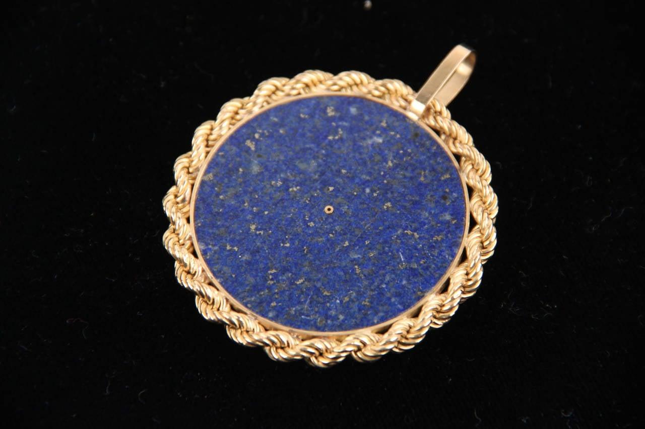 Blue LAPIS Yellow Gold Round Egyptian NEFERTITI PENDANT For Necklace 8