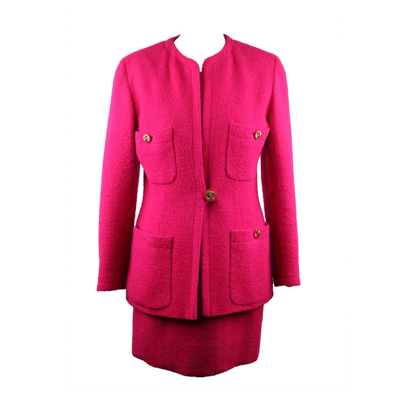 CHANEL BOUTIQUE Vintage Fuchsia Wool SUIT BLAZER Jacket & MINI SKIRT 38 FR
