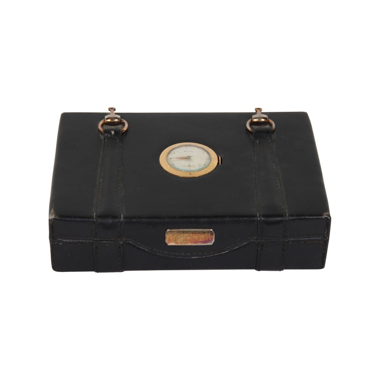 138447eaf8f GUCCI VINTAGE Black Leather HORSEBIT BOX Jewelry CASE w  WATCH Rare For Sale