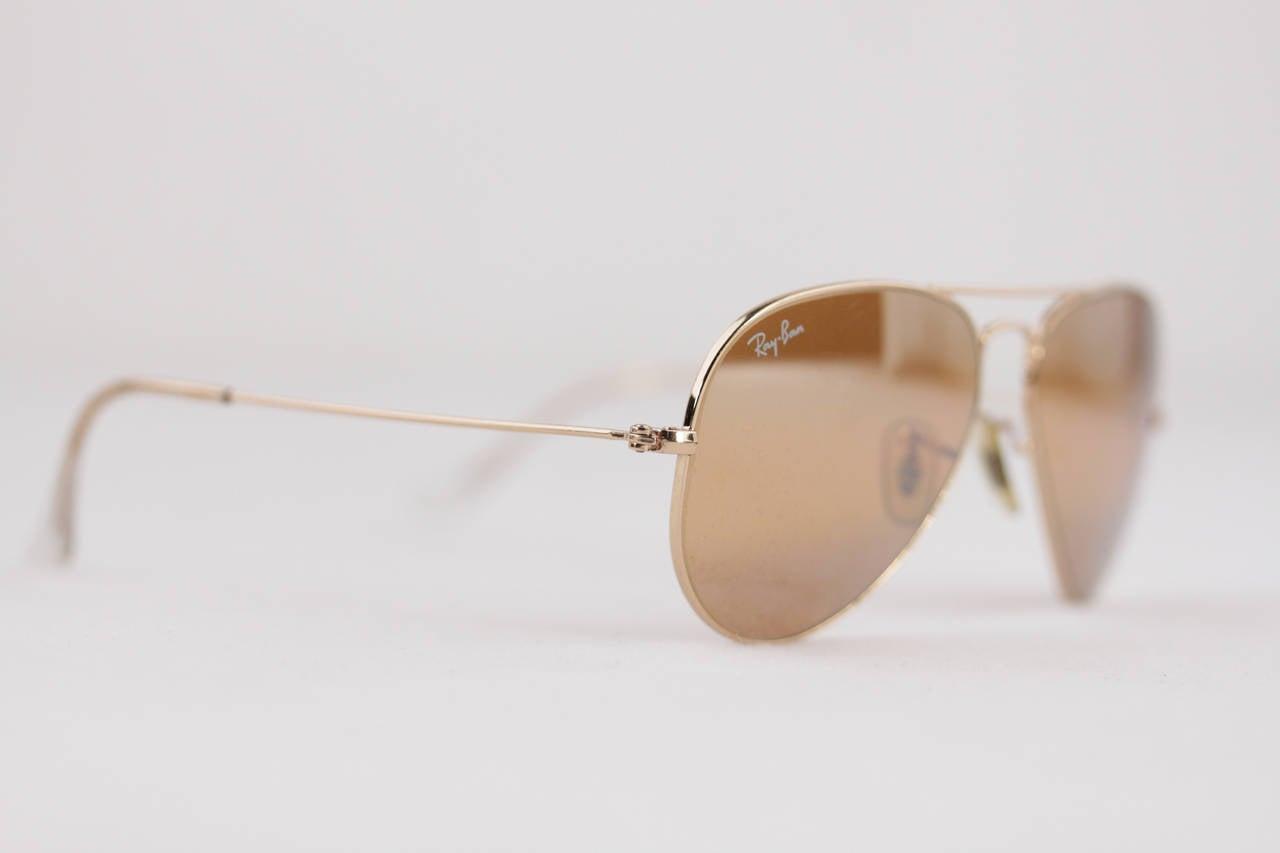 rb3025 55 ywe9  RAY BAN Sunglasses RB3025 55/14 AVIATOR Gold/brown mirror lens EYEWEAR w/