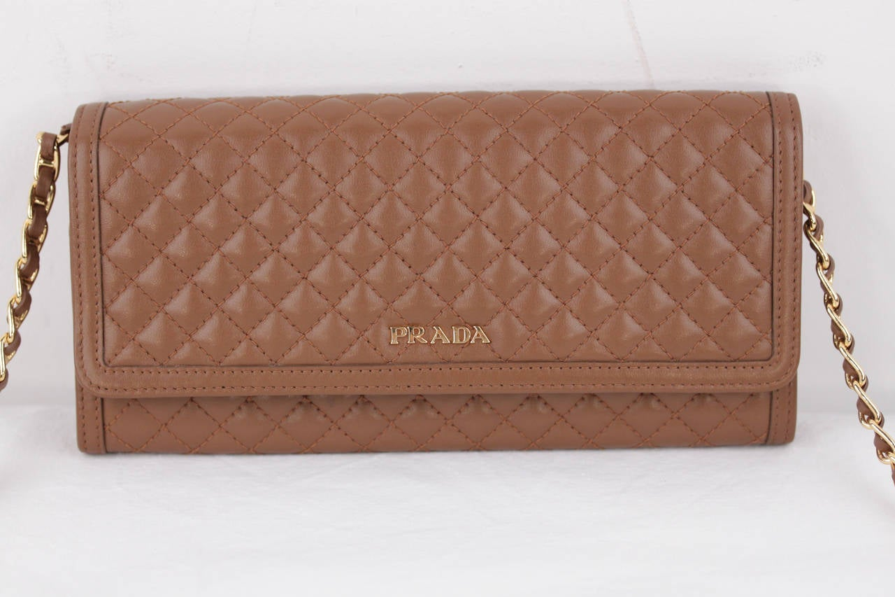 PRADA Tan CANNELLA Soft Calf QUILTED Leather CHAIN WALLET Purse ...