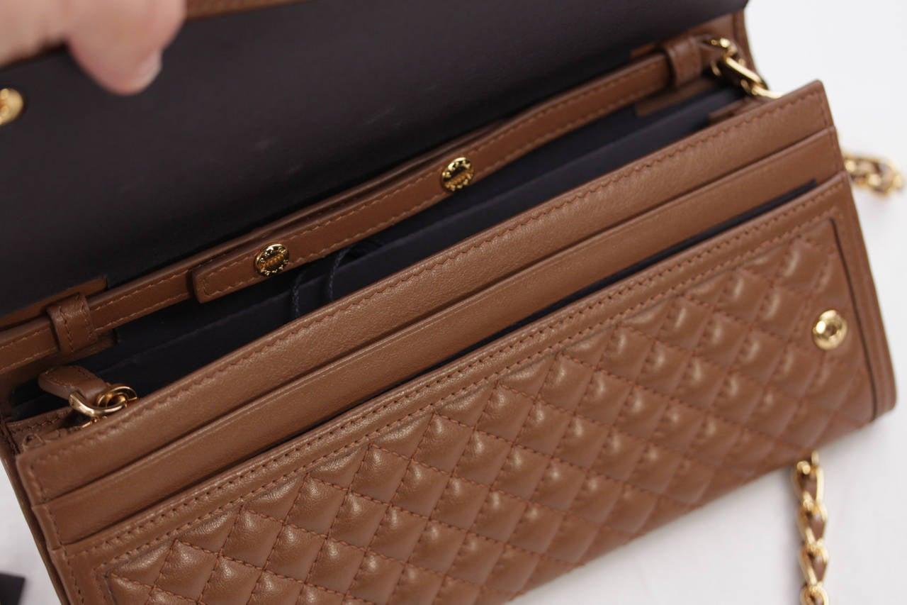 519cdb5edab8 PRADA Tan CANNELLA Soft Calf QUILTED Leather CHAIN WALLET Purse 1M1290 w/  BOX at 1stdibs