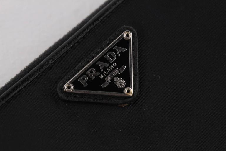 PRADA Black Vela Canvas & Leather LONG ZIP AROUND WALLET Coin Purse w/ BOX For Sale 1