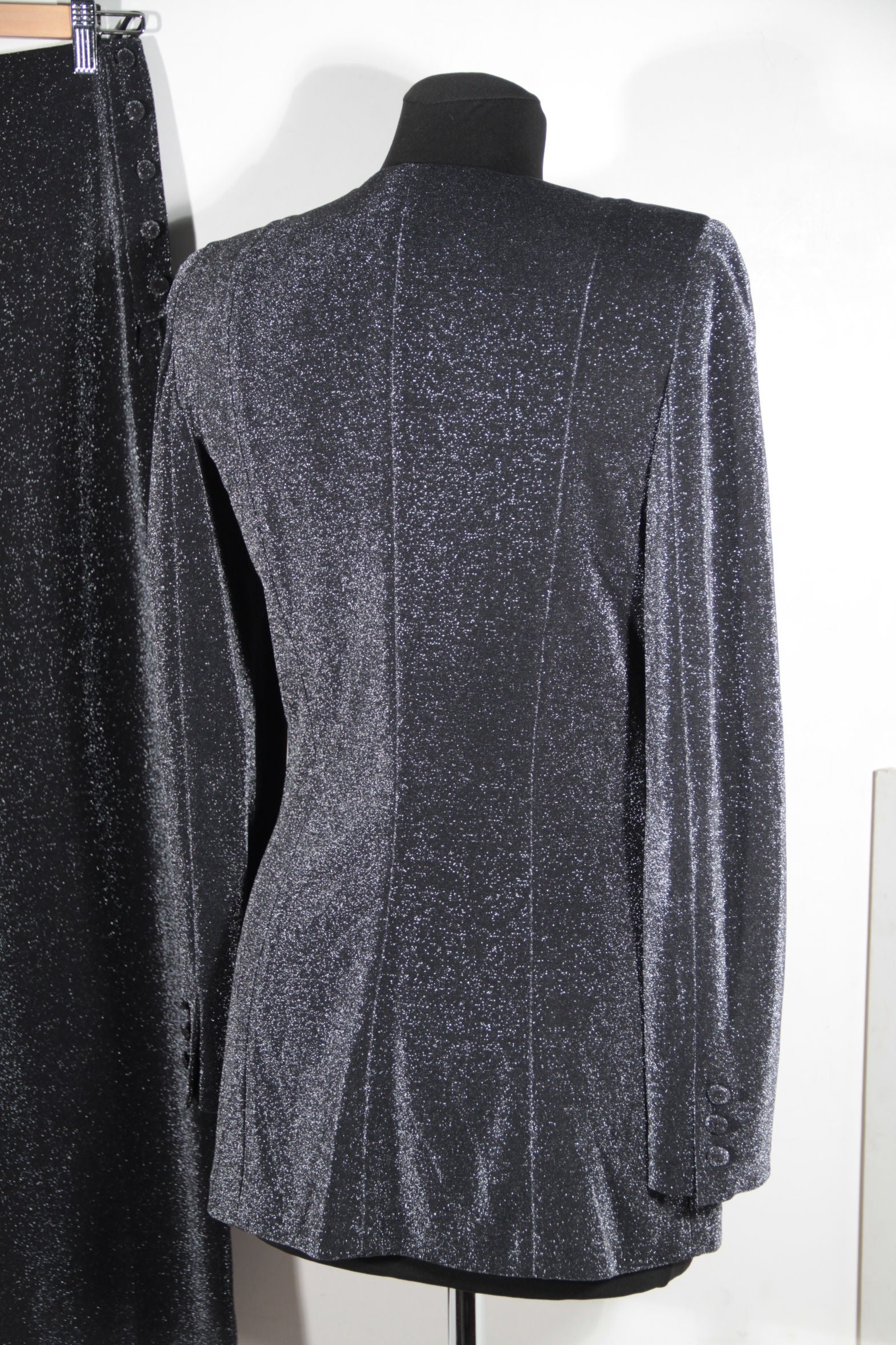 f162c2c41b42c GIORGIO ARMANI BLACK LABEL Lurex WOMEN SUIT Dress BLAZER and Wide Leg Pants  SMALL For Sale at 1stdibs