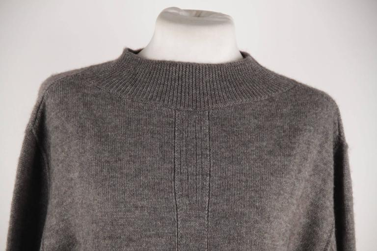 RICK OWENS Gray Wool CROPPED JUMPER Long Sleeve SWEATER Mountain F/W 12 Sz S  For Sale 1