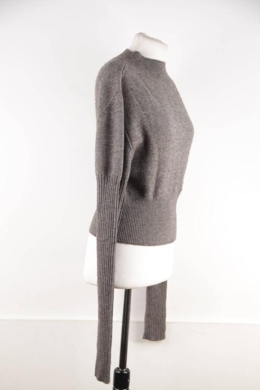Women's RICK OWENS Gray Wool CROPPED JUMPER Long Sleeve SWEATER Mountain F/W 12 Sz S  For Sale