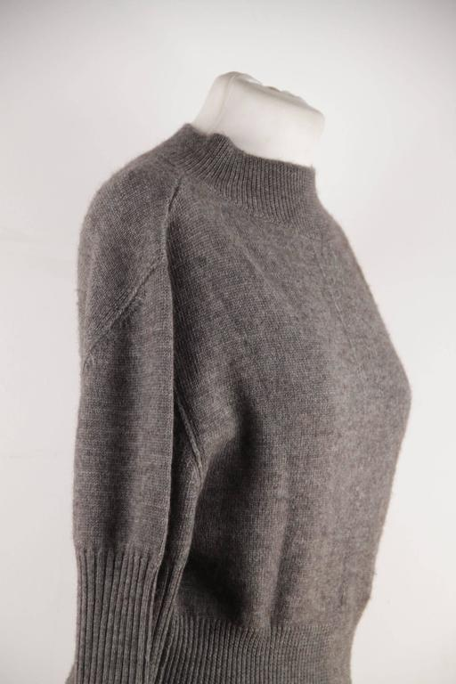 RICK OWENS Gray Wool CROPPED JUMPER Long Sleeve SWEATER Mountain F/W 12 Sz S  For Sale 4